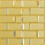 Gestalte gegeven het vierkant lamineerde de Gele Tegel van het Mozaïek van de Decoratie van de Muur van het Glas Gouden