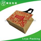 カスタムハンドルが付いているロゴによって配達食品等級のブラウン印刷される速いクラフトの紙袋