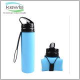 600ml livre de BPA dobrável flexível de Silicone Azul garrafa de água