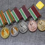 Weiches Decklack-Laufring-Marathon-Militärsport-Metallkundenspezifische Medaille mit Farbband