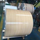 PE/PVDF de grano de madera recubierto bobina de aluminio para muro cortina