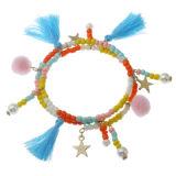 Trendy Bijoux Tassel boule de fourrure Pendentif Bracelet perles de verre double couche