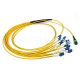 12 волокна Sm OS2 MTP/MPO для LC электровентилятора системы охлаждения двигателя - Тип ГПО Оптоволоконные соединительные кабеля питания