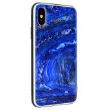 Nouveau Arrival-Blue époxy de luxe avec nacre TPU Téléphone pour iPhone de la série de cas