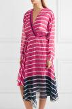 2017 neue Arrvial Frauen Striped rosafarbenen Silk Chiffon- Kleid-Großverkauf