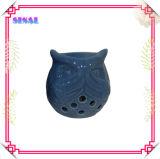 Figurine popolare del gufo, supporto di candela aperto di ceramica del gufo degli occhi