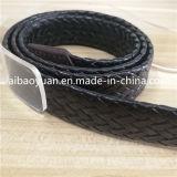 Bracelet en cuir de tannage végétal noir ceinture tressée