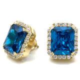 Monili blu degli orecchini della pietra preziosa 925 orecchini d'argento della vite prigioniera