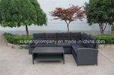 Polyrattanの屋外の家具のソファーは藤の家具のためにセットした