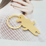 L'émail blanc adorable lapin rose Key Ring en plaqué or