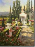 庭の花の古典的な風景画