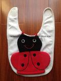 Babero bordado rojo rojo barato promocional del Drool del bebé del Applique del paño de Terry del algodón