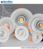 O projector de Downlight da luz de teto do diodo emissor de luz Recessed o dispositivo elétrico de iluminação Downlight claro Recessed que se ilumina para baixo