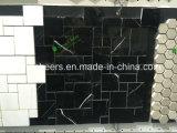 Mosaico di marmo Polished di mosaico di esagono nero delle mattonelle per le mattonelle della parete della stanza da bagno e della cucina