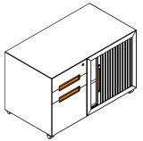 3つの引出し(iCab-RRDM3D)が付いているTambourの右のドアの鋼鉄移動式軸受け