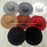 Chapéu de senhora de moda colorida de lã falsa com decoração de cordas e borda grande