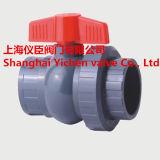 Manejar la válvula de bola PVC PVC doble válvula de bola de verdadera unión