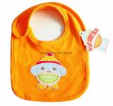 Busbana francese arancione di Drooler del bambino della Jersey del cotone ricamata fumetto su ordinazione dei prodotti dell'OEM della fabbrica della Cina