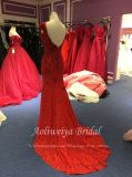 Aoliweiyaの帽子の袖Vの背部トランペットの赤いレースのイブニング・ドレス