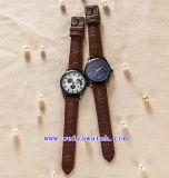 Relógios clássicos feitos sob encomenda de quartzo da cinta de couro do relógio do logotipo das senhoras (WY-G17009B)