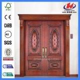Античные двойные Mahogany нутряные двери твердой древесины