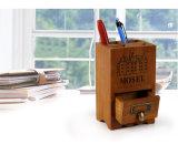 Pecho de madera de bambú del sostenedor del lápiz de la pluma del escritorio de la insignia de encargo
