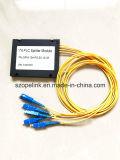 Il divisore ottico della scatola di plastica del PLC 1X4 della fibra per l'applicazione della rete e della radio e può, CCTV