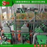 O pneu reconhecido que Shredding o recicl da planta pneumáticos Extremidade--Usa-se/Consumidor à migalha de borracha de 1-5mm