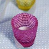 Frasco de vidrio colorido vela con soporte para niños
