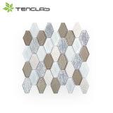 Mosaico del vidrio del vidrio laminado del brillo de la plata del hexágono