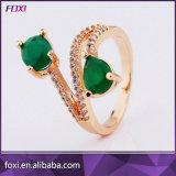 녹색 돌을%s 가진 로즈 금에 의하여 도금되는 반지