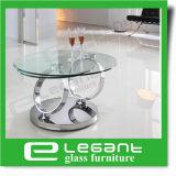 Mesa de centro Rotatable do vidro Tempered com base do aço inoxidável
