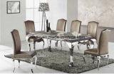Vidro temperado ou mármore mesa de jantar em aço inoxidável superior