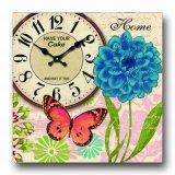 Reloj de pared de madera de múltiples funciones con el marco de la foto y la tarjeta de tiza de la nota