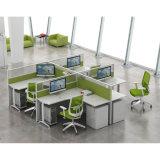 Derecho sitio de trabajo moderno de la partición de la combinación del personal del racimo de los muebles de oficinas de 4 asientos