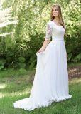 Амели скалистых A-Line шифон устраивающих свадебные платья с половиной муфты