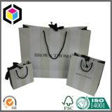 Bolsa de papel brillante del regalo de los cosméticos de la maneta del satén de la impresión de color