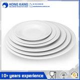 Plaque en plastique unicolore de mélamine de dîner de vaisselle blanche