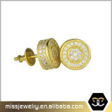Pendientes Shaped redondos Mjce042 del espárrago de las mujeres simples del oro 18K