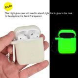 Apple Airpodの例のための工場供給のシリコーンの箱カバー皮夜白熱カバー
