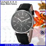 Montre-bracelet occasionnelle de mode de dames de quartz de courroie en cuir (Wy-081C)