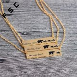 Commerce de gros ours Custom Mama Gold Bar Silver Necklace Necklace en alliage