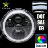 40W Bluetooth Control IP67 Resistente al agua los ojos de ángulo Multi-Color mayorista DRL RGB de 7 pulgadas de faros LED delantero