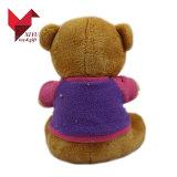ICTI aprovou o urso enchido amarelo bonito da peluche da venda por atacado da fábrica do brinquedo com camisas de T