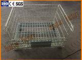 Recipiente da pálete do engranzamento de fio de aço para o uso do armazenamento do armazém