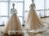 Платье венчания Шампань с плеча a - линии мантии 2018 ND15 венчания шнурка Bridal
