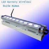 Os LEDs de 9 x 15W Arruela de parede LED da bateria sem fio fase da barra de luz
