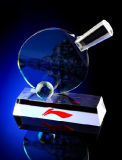 Trofeo di cristallo reso personale di ping-pong di sport liberi per i regali dei premi
