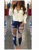 Jeans maigres de mode de forme physique de modèle de femmes de denim neuf de jeans