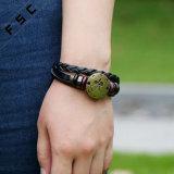Tierkreis-Zeichen-justierbares umsponnenes ledernes Armband